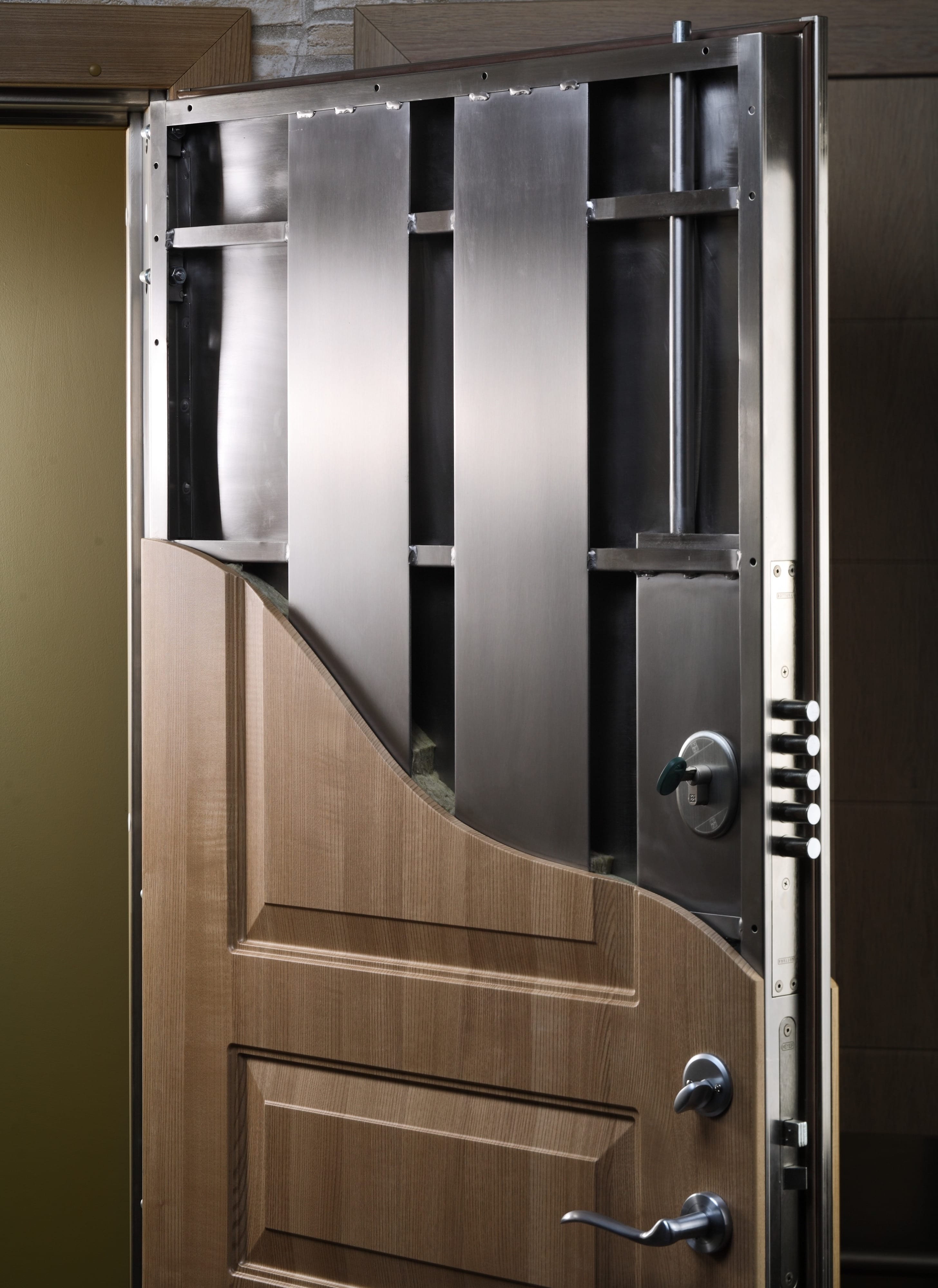 cutaway of multi-point locking system custom security door link to security doors page