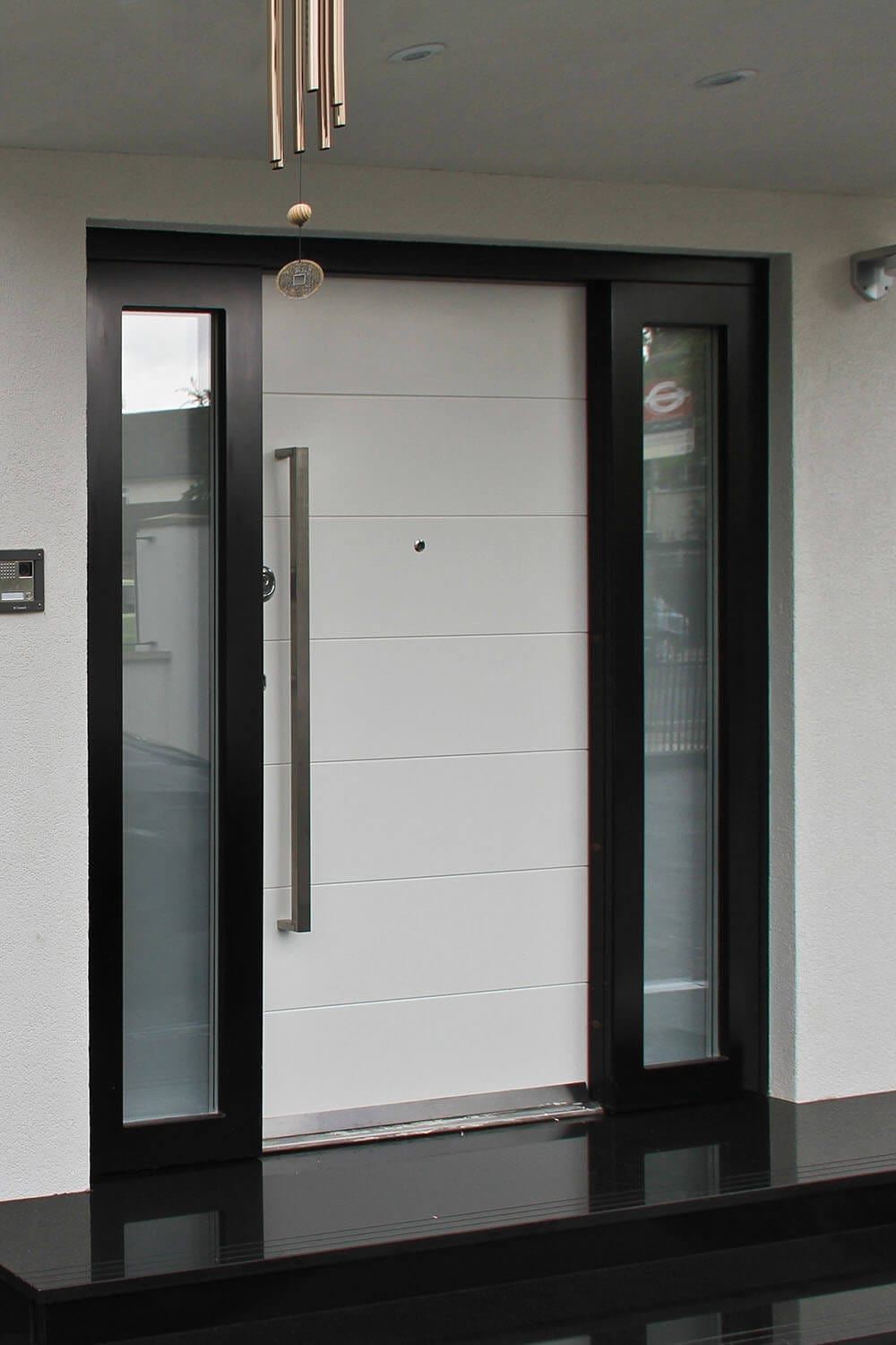 Security door with sidelight windows