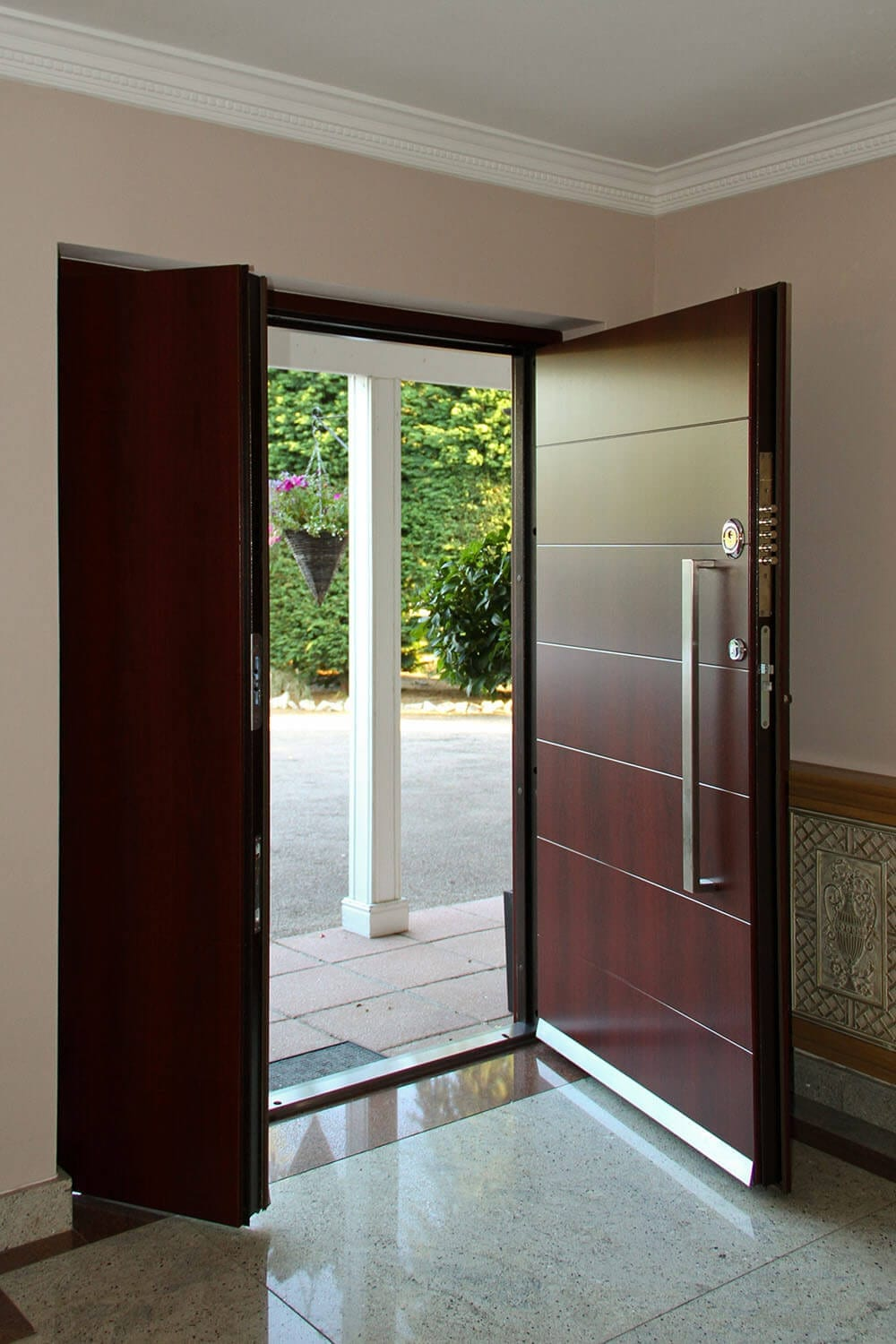 Double security doors with woodgrain