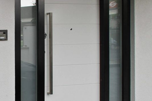 Modern residential armored door open
